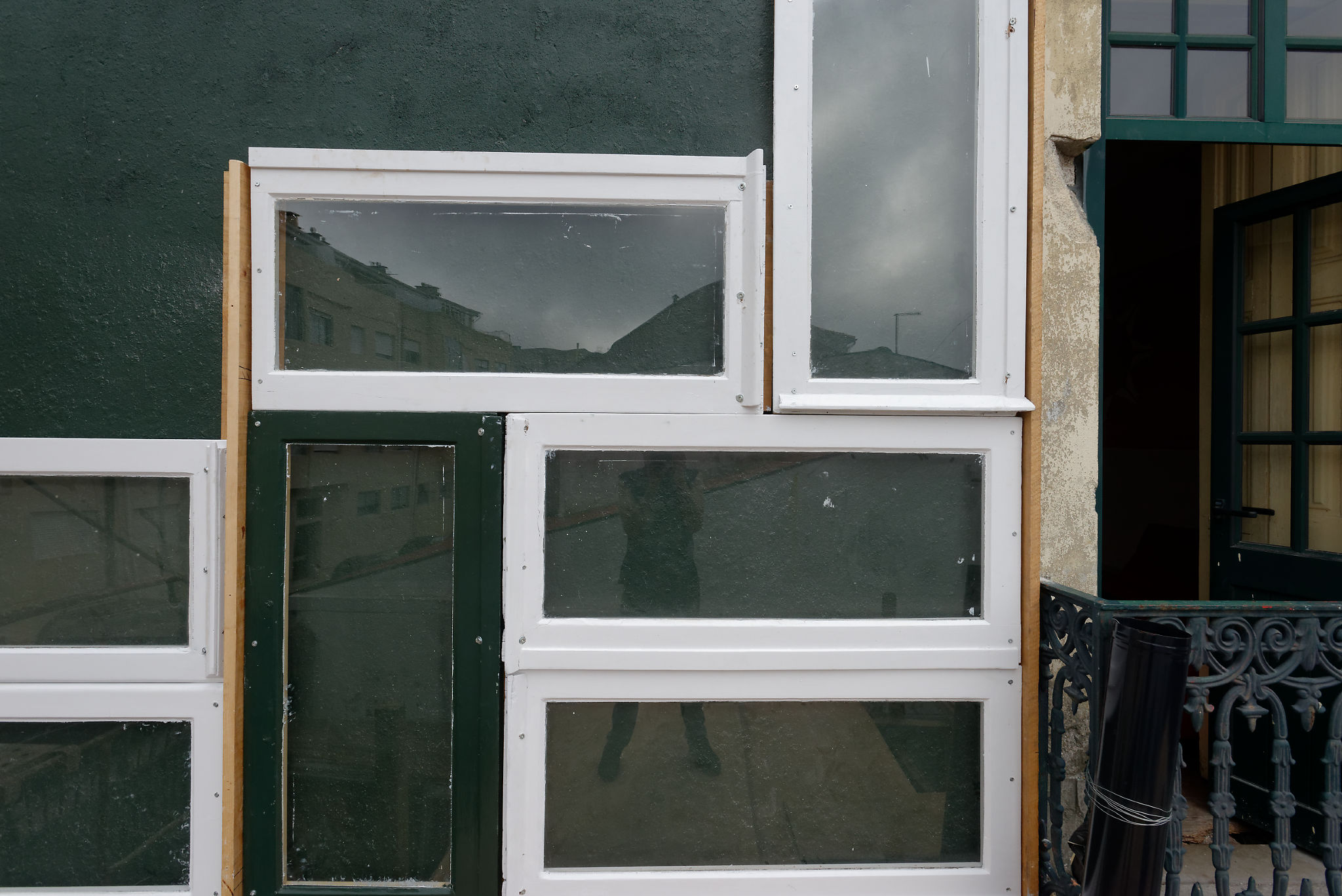 recycled window facade